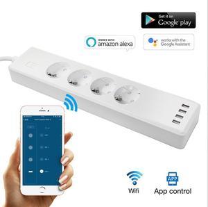 Image 2 - Tuya חכם WIFI כוח רצועת האיחוד האירופי סטנדרטי עם 4 תקע ו 4 יציאת USB תואם עם אמזון Alexa ו google קן