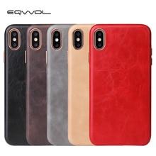 Eqvvol Роскошный кожаный чехол для iPhone 8 7 Plus 6 6s, однотонный чехол для iPhone X XS MAX XR, чехлы с мягкими краями, Жесткий ПК чехол