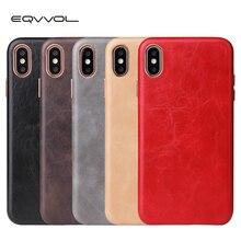 Funda de cuero de lujo Eqvvol para iPhone 8 7 Plus 6 6s funda de color sólido para iPhone X XS MAX XR fundas de borde suave cubierta dura de la pc Coque