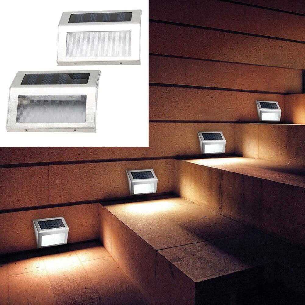 2 шт. Солнечный Мощность 3 напольный Водонепроницаемый Путь Сад Лестницы свет лампы энергосберегающие СИД солнечный пейзаж лампа