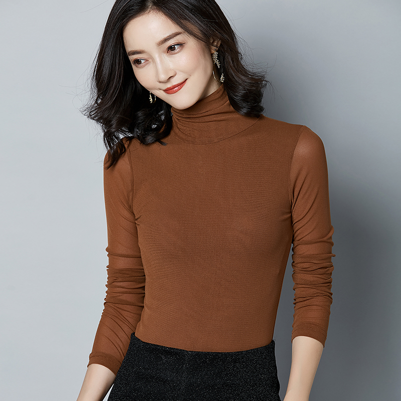 0874ddfeeb9 2018 autumn long sleeve women tops turtleneck plus size sexy mesh t shirt  woman slim stretch t shirt black pink camiseta blusa-in T-Shirts from  Women s ...