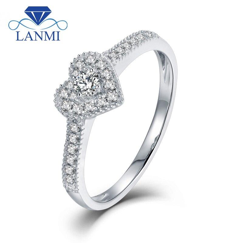 LANMI Heart Shape Real Bling Diamond Wedding Rings Solid 18K White Gold Trendy Jewelry For Women Anniversary цена
