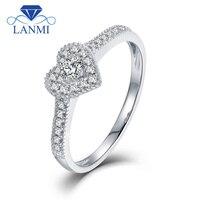 LANMI Heart Shape Real Bling Diamond Wedding Rings Solid 18K White Gold Trendy Jewelry For Women Anniversary