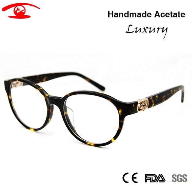 2016 Fashion  New Brand Optical Frame Diamond Retro Round Glasses For Women High Quality Vintage Eyeglasses Myopic Glasses