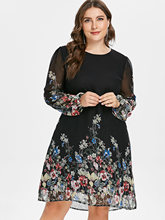Wipalo Plus Size Floral Print Tunic Women Dress Long Sleeve Autumn Elegant Tribal Flower Vocation Shirt Chiffon 3XL