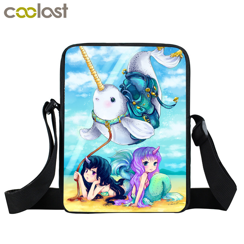 Cartoon Sea Unicorn Mermaid Crossbody Bag Girls Mini Messenger Bag Kawaii Narwhal Kids School Bags Children Book Bags Gift