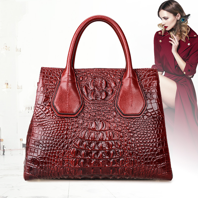 Maihui Women leather handbags high quality real cow genuine leather bags 2017 new chinese style alligator shoulder tote bags women leather handbags high quality real cow genuine leather bags new fashion chinese style floral shoulder bag casual tote bag