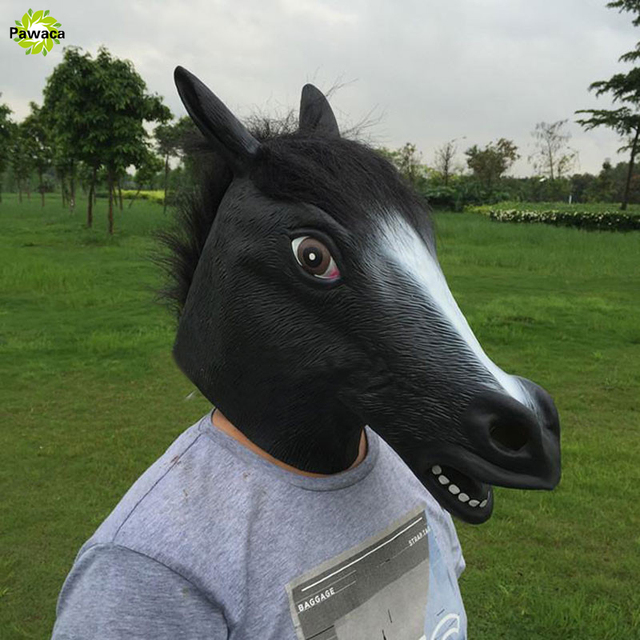Creepy Full Face Head Horse mask Rubber Animal Mask latex Party Animal Mask kid Halloween Masquerade Party Mask funny Horse Head