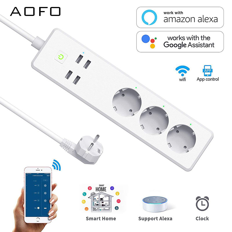Wifi Smart Power Strip 3 EU Outlets Plug 4 USB Charging Port Timing App Voice Control Work with Alexa,Google Home Assistant