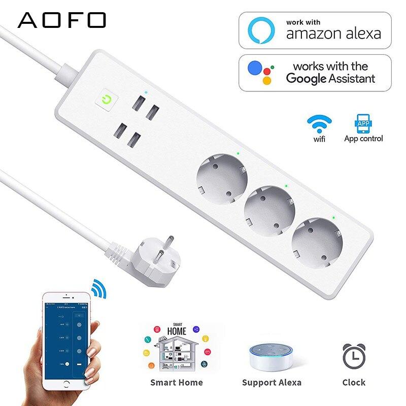Wifi Smart Power Strip 4 3 Saídas DA UE Plug USB Porto De Carregamento Controle de Voz Cronometragem Aplicativo Trabalhar com Alexa, google Home Assistente