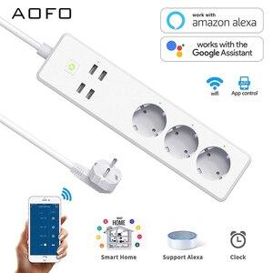 Image 1 - Wifi Smart multiprise 3 prises ue prise 4 Port de charge USB synchronisation App commande vocale travail avec Alexa,Google Home Assistant