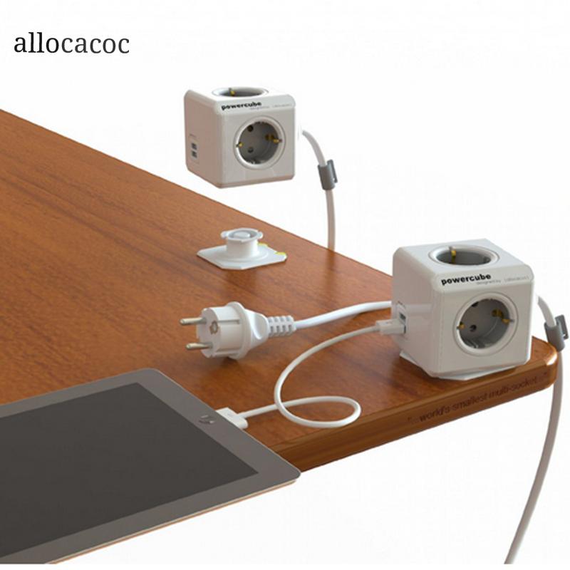 Allocacoc Original Power Cube Smart Home Safe Socket Dual USB Ports DE Plug 4 Outlets 3M Adapter Extended Connector