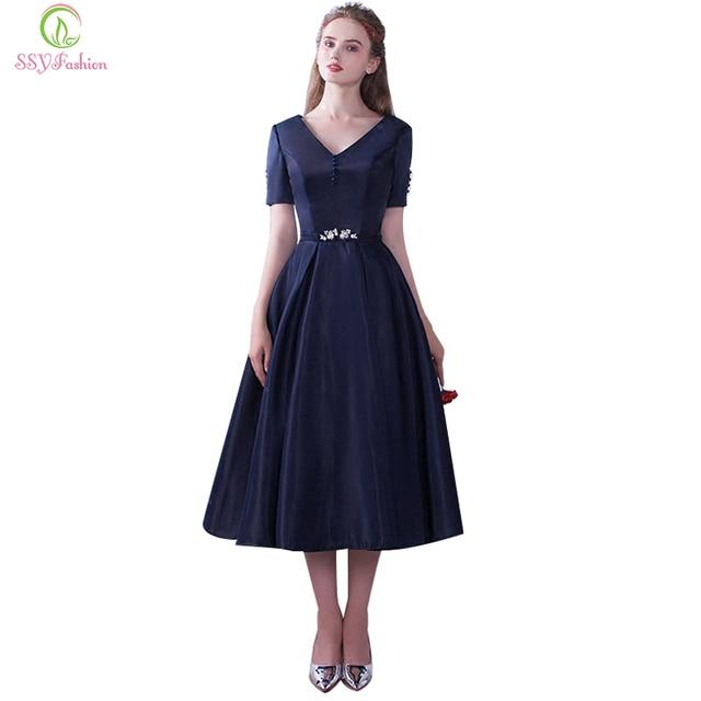 6825935b102d6 Ssyfashion 2017 nueva banquete elegante vestido de noche azul marino simple  v-cuello corto mangas