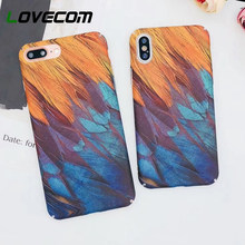 LOVECOM Vintage Multicolor Feather Matte PC Hard Phone Case For iPhone 8 X XS MAX XR Huawei P10 P20 PLUS Xiaomi 8 Huawei Note 10(China)