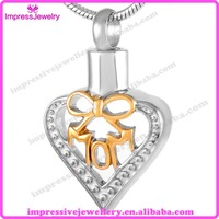 IJD9201 Mom in Heart Cremation Jewelry Memory Of Mother Ashes Pendant Necklace