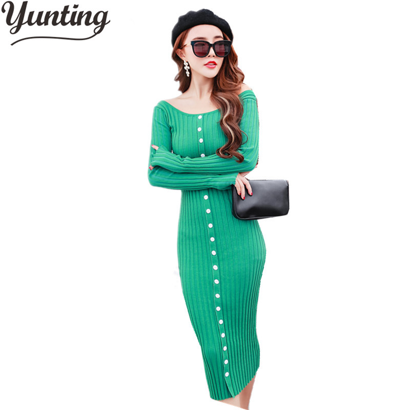 2017 New Fashion Autumn Winter Dresses Elegant Women Long Sleeve O Neck Single Breasted Casual