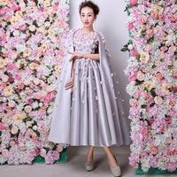 Dubai Arabic Evening Dress 2019 Flowers Beaded Tea Length Formal Dresses With Cape Evening Gowns Mid Calf Prom Gowns Custom