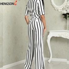Summer Deep V Neck Striped Jumpsuit EL5F0