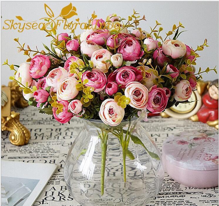 Искусственные цветы дешевые 5 филиалов бутоны роз поддельные цветы из шелка для украшения дома декоративные цветы