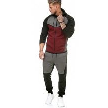 2019 New Men Sets Fashion Sporting Suit Patchwork Zipper Sweatshirt +pants Plus Size Mens Clothing 2 Pieces Sets Slim Tracksuit