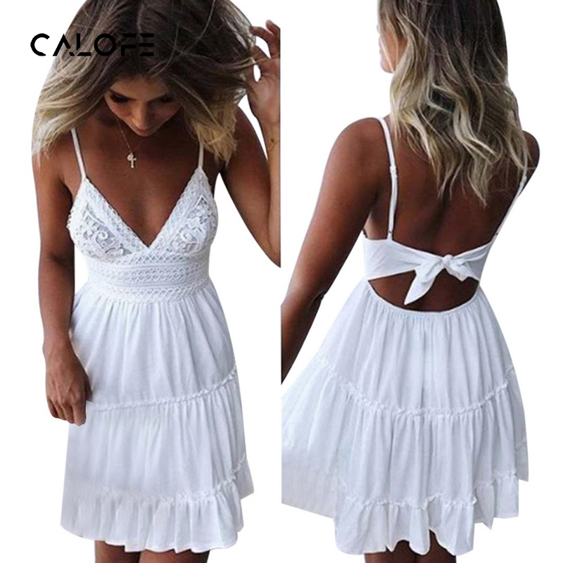 CALOFE Women Lace Dress Fit Party Backless Bow Beach Dress Summer Strap V Neck Dresses Draped Sundress Elegant Lady Vestidos