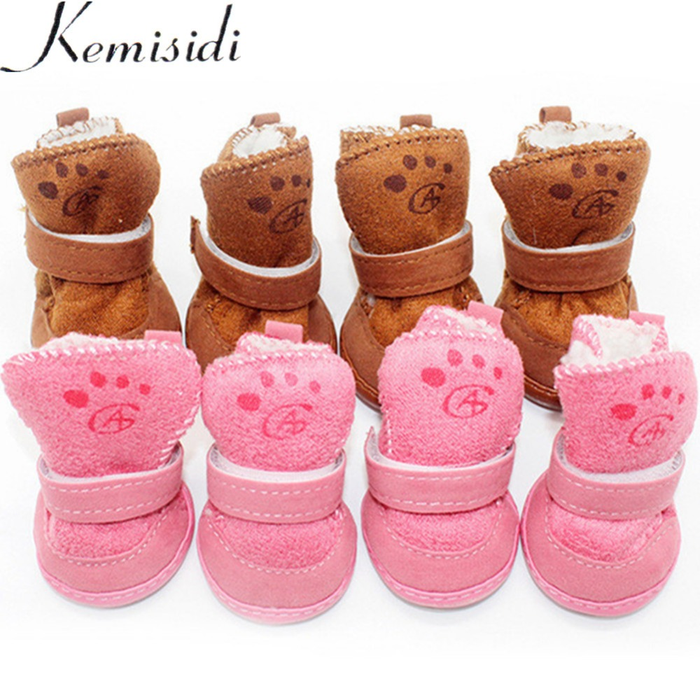 4 Pcs Thick Snow Dog <font><b>Shoes</b></font> Pet Chihuahua Animal Warming <font><b>Shoes</b></font> Plush Winter Pets Puppy Cats Warm Boots 1/2/3/4/5 Dog <font><b>Shoes</b></font> Winter image