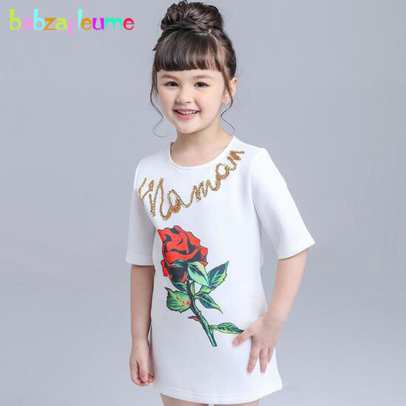babzapleume summer style fashion kids clothes toddler girls dresses Rose white baby princess dress for children clothing BC1470 2016 new fashion summer children clothing beautiful white girls lace dress princess mini dresses middle sleeve kids baby clothes