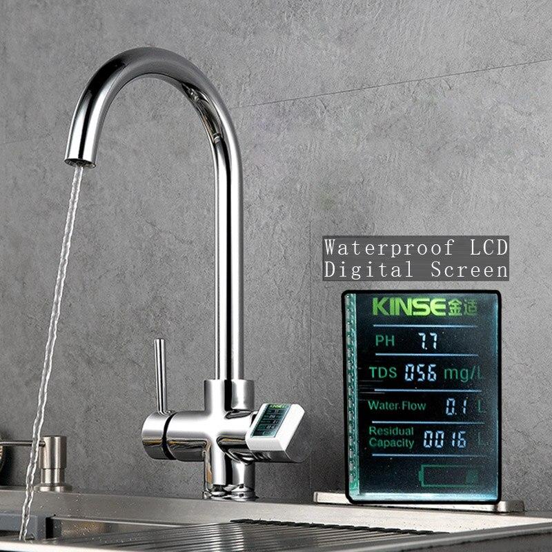 Цифровой Дисплей Водонепроницаемый Кухня смесители ЖК дисплей воды краны 2 ручки кран фильтр горячая холодная Латунь смесителя хром 2 функц