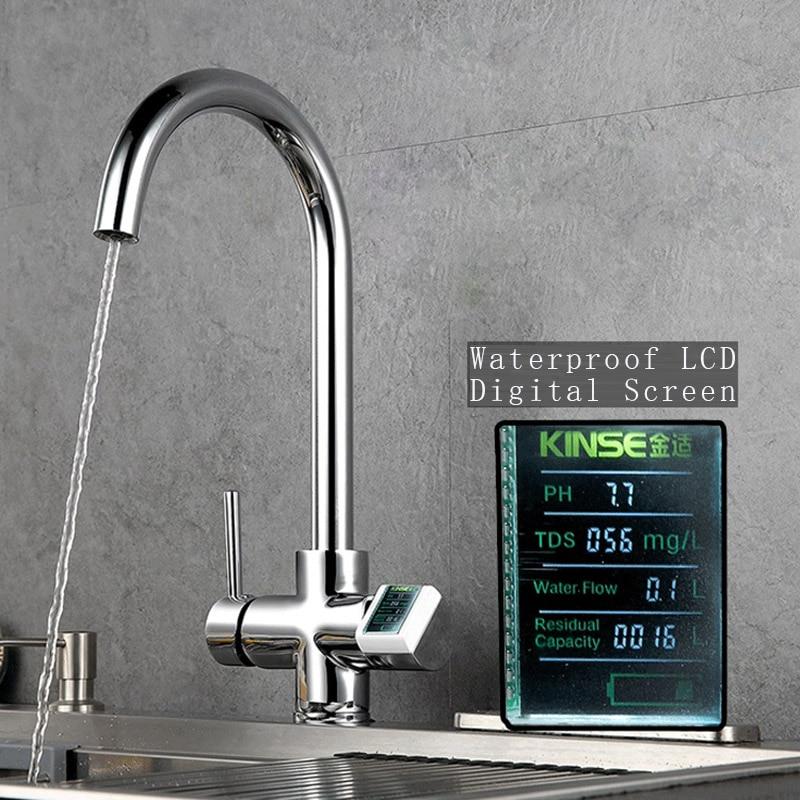 இDigital Display Waterproof Kitchen Faucets LCD Water Taps 2 Handle ...
