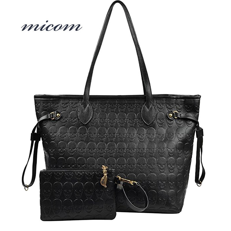 Micom Women Bag Organizer Devil Skull Handbags Large Capacity Tote Bag Brand Pu Leather Ladies Shoulder Bags Bolsas Feminina