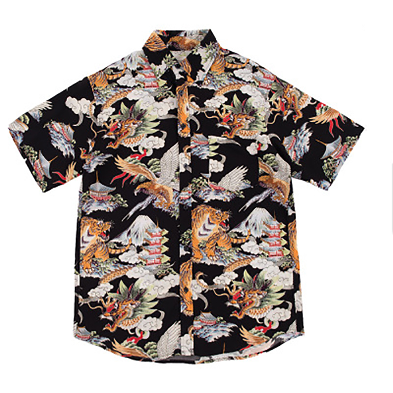 Hip Hop Shirt Streetwear Men Hawaiian Shirts Retro Tiger Dragon Print Harajuku Summer Beach Shirt Tops Short Sleeve Shirts