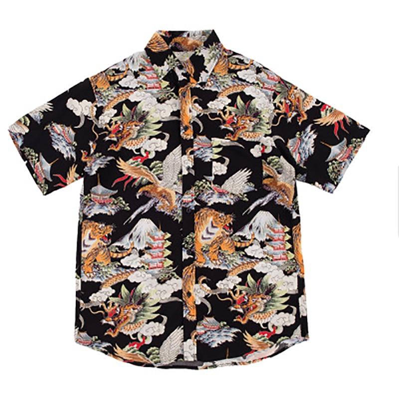 Hip Hop Shirt Streetwear Men Hawaiian Shirts Retro Tiger Dragon Print Harajuku Summer Beach Shirt Tops Short Sleeve Shirts