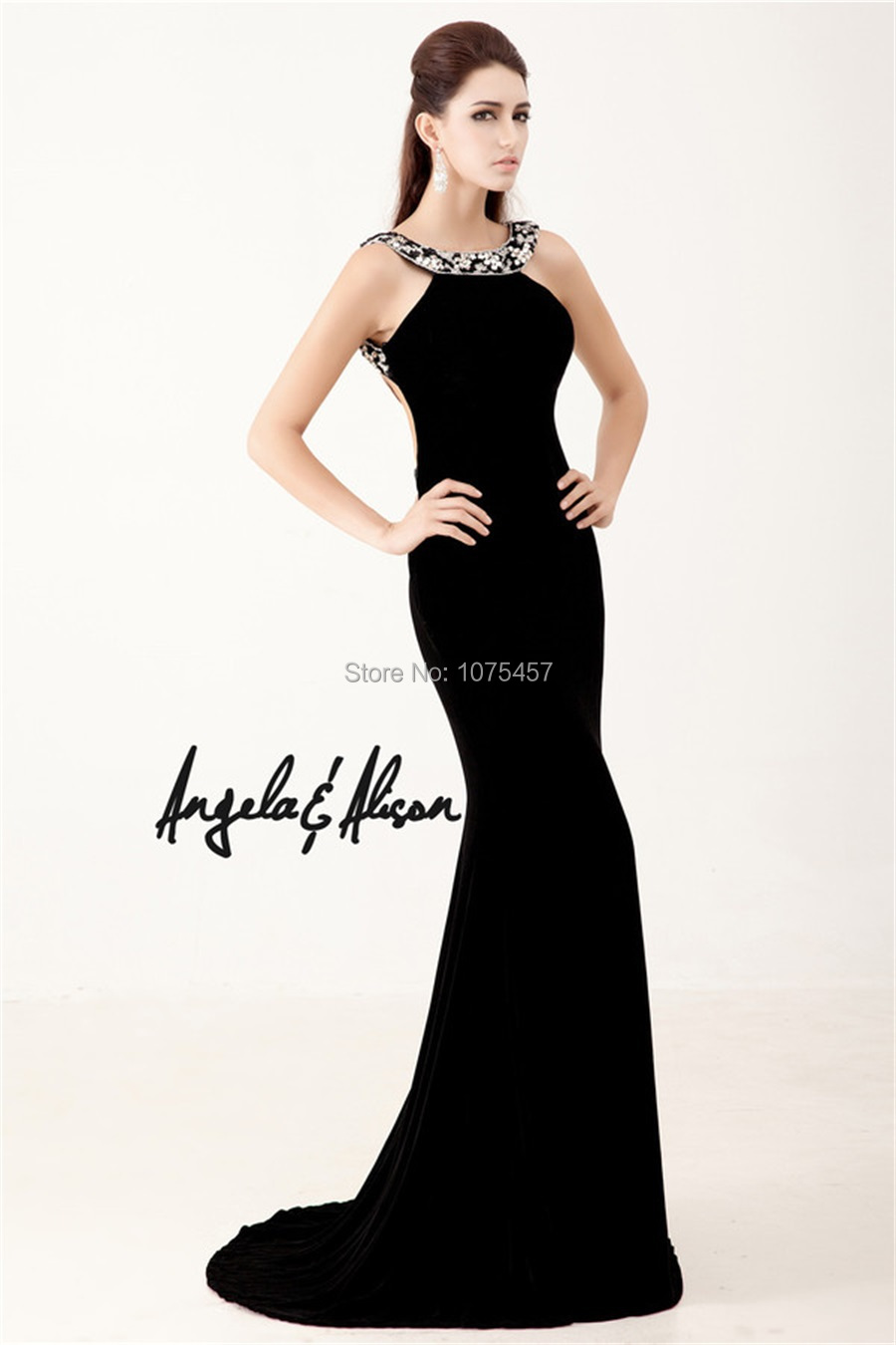 Free Shipping Sexy Backless Prom Dress With Crystals Halter Neck ...
