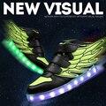 Мальчики девочки СВЕТОДИОДНЫЕ обувь качество мода огни обувь крылья стиль высокие светящиеся кроссовки дети света USB зарядки 25-35