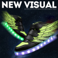 boys girls LED shoes quality fashion lights shoes wings style high top luminous sneakers kids light up USB charging 25-35