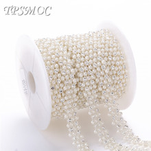 TPSMOC 10yards pearl with clear crystal rhinestone chain Sew Trim FlatBack Pearl Beads DIY Jewelry Clothes