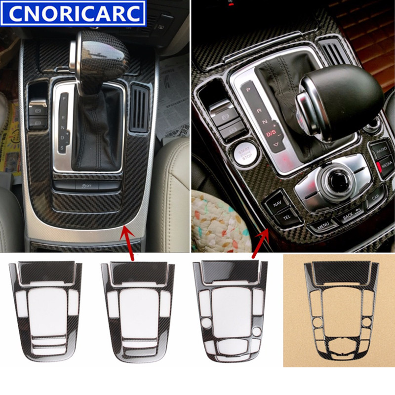 CNORICARC Carbon Fiber Console Armrest Gear Shift Panel Cover Trim For Audi A5 A4 B8 2012