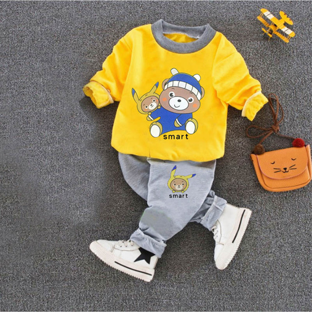 8a5e1f80e9b64 Aliexpress.com : Buy kids boys clothing sets 2018 autumn baby girl & boy  clothes set 2 pieces cartoon print sweatshirts+sports pants outfit 1 4 year  ...