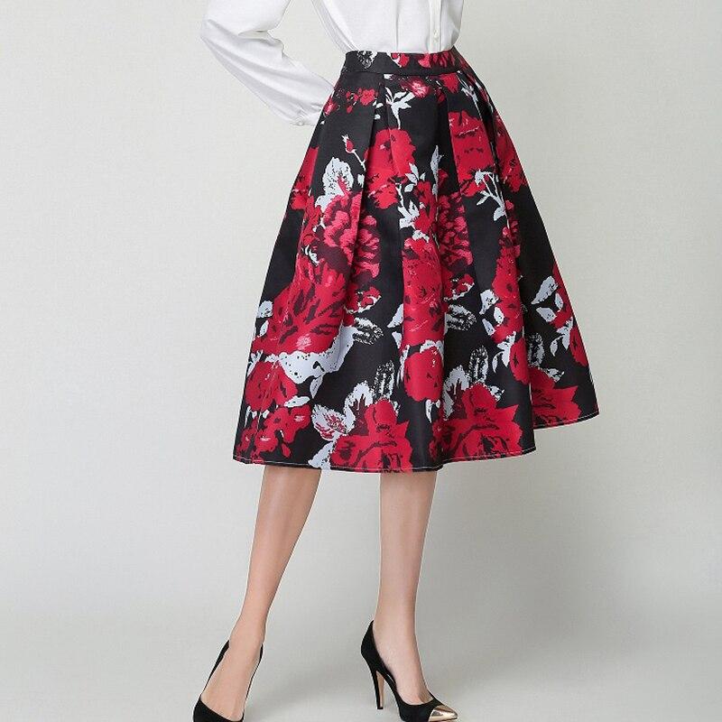 2cee0184f2 2017 New Fashion Women Midi Skirt European Fashion High Waist Elegant  Flower Print Vintage Flared Skater Skirt Saia Faldas Mujer-in Skirts from  Women s ...