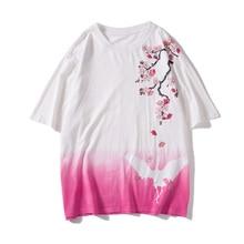 New Summer Men Harajuku Casual Streetwear Top Tees Male Tee Shirt Chinese Style Crane Cherry Blossoms Flowers Print Tshirts 2019 недорого