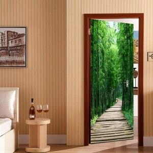 Image 3 - Foresta di bambù tavola di legno piccola strada 3D foto carta da parati pittura murale soggiorno camera da letto porta adesivo decorazione murale De Parede