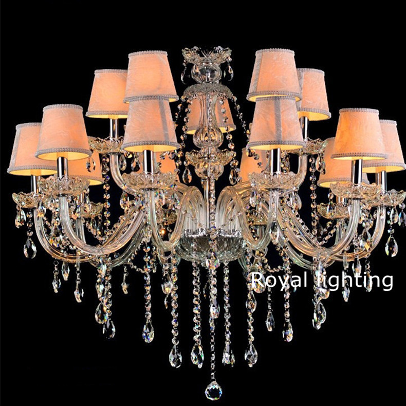 Home clear glass crystal chandelier led lamps vintage chandeliers home clear glass crystal chandelier led lamps vintage chandeliers with fabric shades for villa hotel project hanging lights in chandeliers from lights aloadofball Choice Image