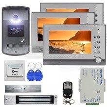 DIYSECUR 7 pulgadas Video de La Puerta Teléfono Intercom Timbre de La Puerta RFID Lector de Metal Cámara de Visión Nocturna Sistema de Control Remoto de Bloqueo Magnético