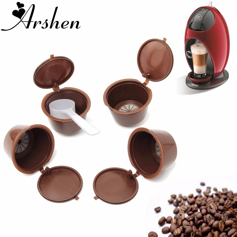 Arshen Dolce Gusto Coffee Capsule 4 Pcs Set Plsatic Refillable Coffee Capsule 200 Times Reusable Compatible