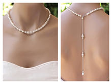 High Quality Sexy Full Pearl necklace tassel blank back Chain Jewelry For Women Party Wedding Backless Dress Accessories(China)