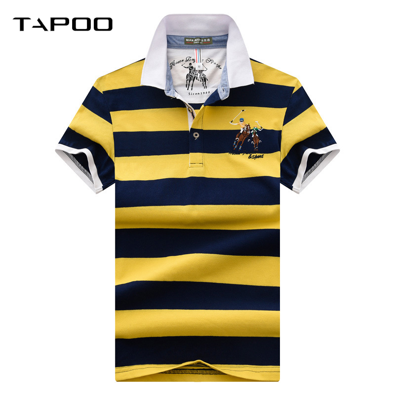 Men's   Polo   Shirt embroidery Business & Casual Stripe Male   Polo   Shirt Short Sleeve Breathable Turn Down Collar   Polo   Tee Shirt