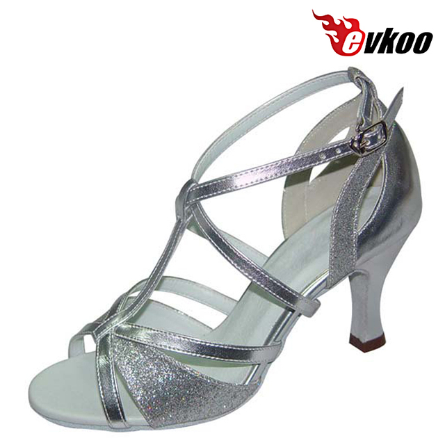 Evkoodance Salsa Latin Dance Shoes 7 cm Heel Black Sliver Khaki Pu With  Shiny Woman Shoes With High Quality Evkoo-222 e0739c40c8fa