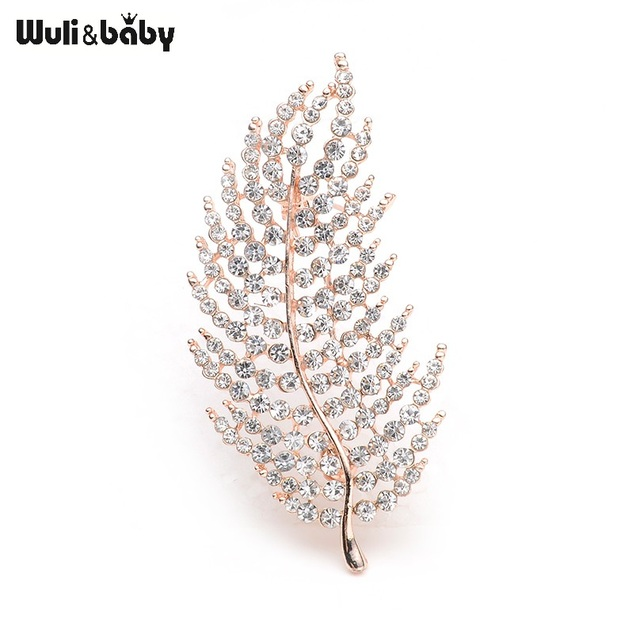 Glitter Rhinestone Feather Brooches For Women And Men Alloy Leaf Scarf Brooch Pins Banquet Wedding Accessories Corage
