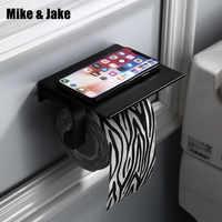 Raum aluminium bad papier halter mit regal für telefon bad regal wand papier rack schwarz bad regal zubehör