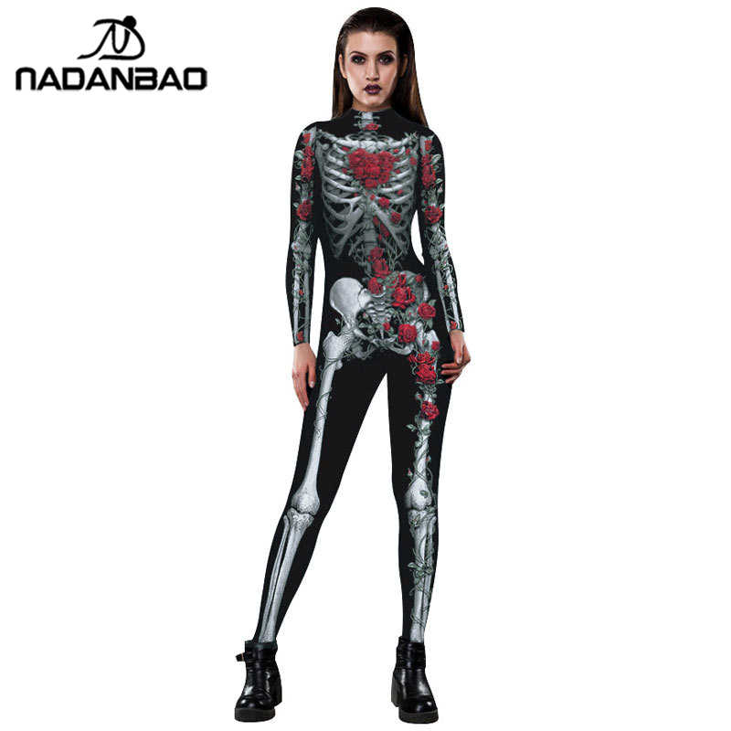 Halloween Costumes Scary Women.Nadanbao Floral Mechanical Bone Costume Scary Halloween Costumes For Women Rose Skeleton Skull Plus Size Jumpsuit